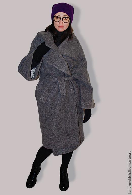 Верхняя одежда ручной работы. Ярмарка Мастеров - ручная работа. Купить Пальто-кокон Street-fashion. Look№2. Handmade. Серый