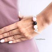 Украшения handmade. Livemaster - original item Bracelet with matte smoky stones rose quartz, onyx, crystal. Handmade.