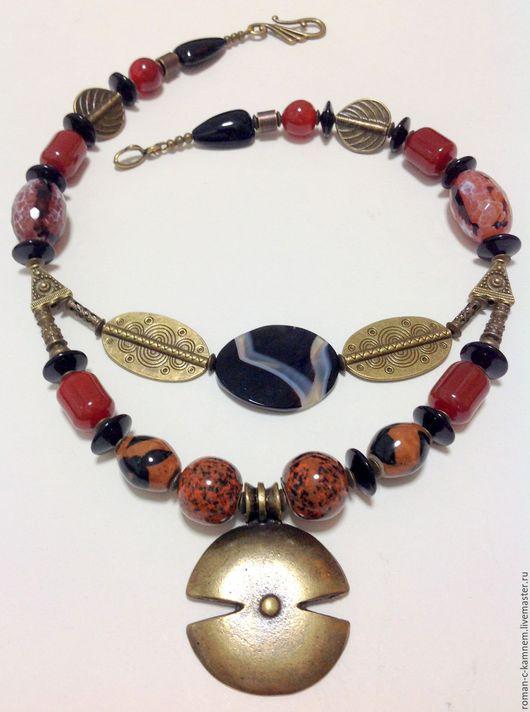 Колье, бусы многорядные из натуральных камней в этническом, африканском стиле Линия Судьбы. Оригинальный, стильный подарок вашим друзьям и близким. Подходит для стиля бохо.