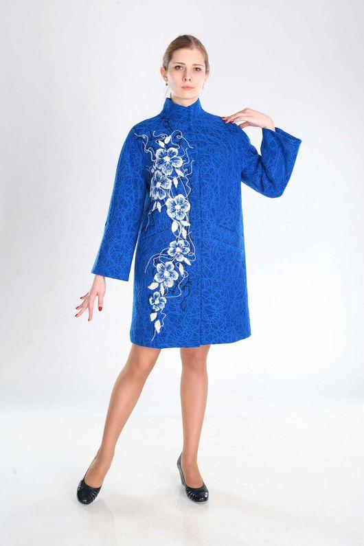 Верхняя одежда ручной работы. Ярмарка Мастеров - ручная работа. Купить ПС 33. Handmade. Синий, женское пальто