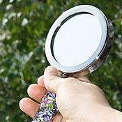 """Для дома и интерьера ручной работы. Ярмарка Мастеров - ручная работа Зеркальце ручное """"Фиалки"""" lampwork. Handmade."""