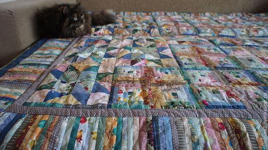 Текстиль, ковры ручной работы. Ярмарка Мастеров - ручная работа. Купить Лоскутное покрывало одеяло  Звездочки (3). Handmade. Голубой