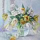 Картины цветов ручной работы. Ярмарка Мастеров - ручная работа. Купить Натюрморт с тюльпанами. Handmade. Весна, букет, голубой, мастихин