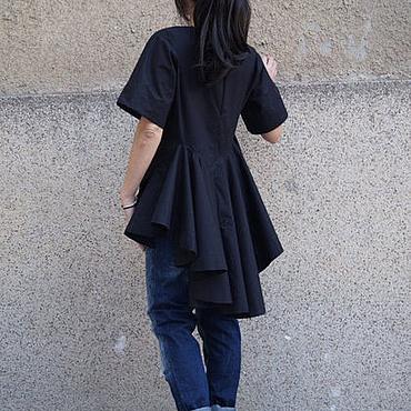 Одежда ручной работы. Ярмарка Мастеров - ручная работа Рубашка с короткими рукавами /Черная Рубашка/ F1666. Handmade.