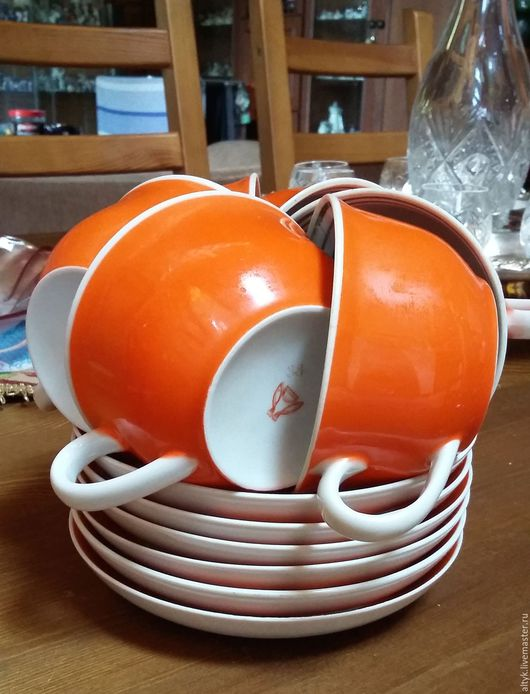 Винтажная посуда. Ярмарка Мастеров - ручная работа. Купить Шесть чайных пар, Песочное.. Handmade. Рыжий, фарфор винтаж