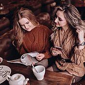 Одежда handmade. Livemaster - original item Knitted bomber jacket-knit in heathered beige color. Handmade.