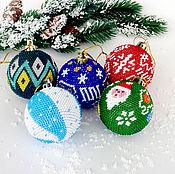 Новогодние сувениры ручной работы. Ярмарка Мастеров - ручная работа Набор для вязания бисером. Новогодние шарики 5 штук. Handmade.