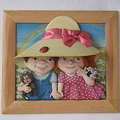 """Картины и панно ручной работы. Ярмарка Мастеров - ручная работа панно из керамического теста""""первая любовь"""". Handmade."""