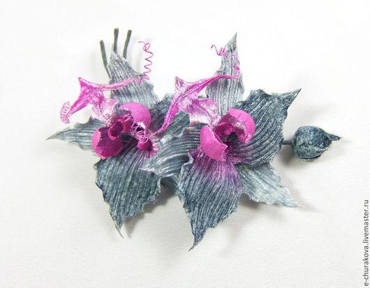 Цветы ручной работы. Ярмарка Мастеров - ручная работа. Купить Цветы из шелка. Цветы из ткани. Орхидея.. Handmade. Серый, цветы