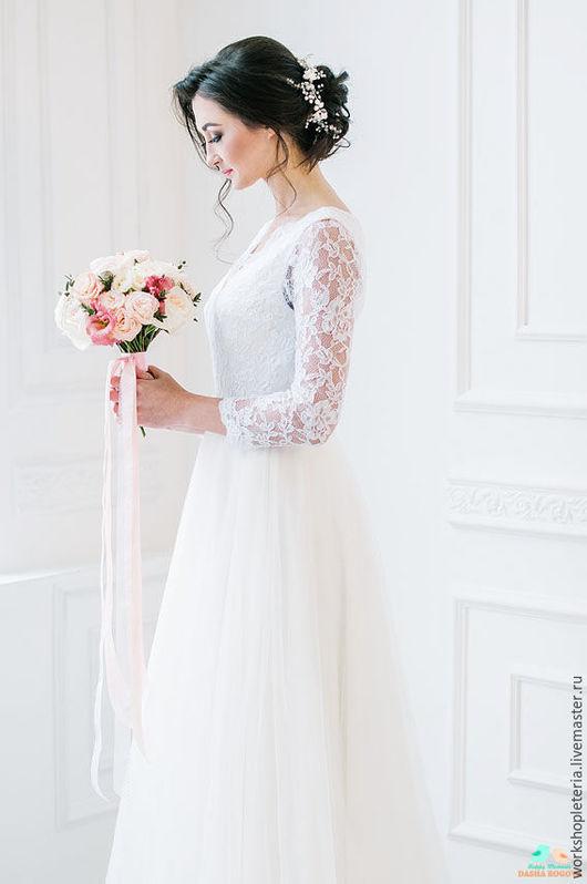Свадебные украшения ручной работы. Ярмарка Мастеров - ручная работа. Купить Цветочный венок повязка для свадебной прически. Handmade. Белый