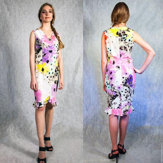 Платья ручной работы. Ярмарка Мастеров - ручная работа. Купить Платье из креп шелка в мелкий цветочек. Handmade. Комбинированный