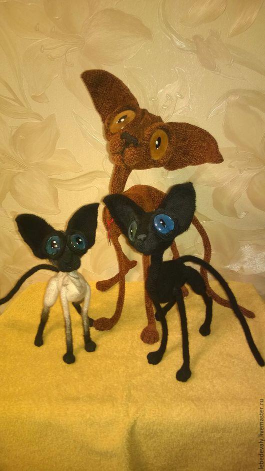 Игрушки животные, ручной работы. Ярмарка Мастеров - ручная работа. Купить Сфинкс - черный кот с голубыми глазами. Handmade. Черный