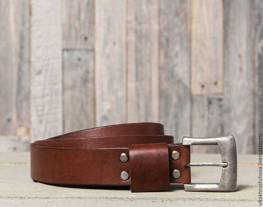 Пояса, ремни ручной работы. Ярмарка Мастеров - ручная работа. Купить Мужской кожаный ремень Nevada. Handmade. Коричневый