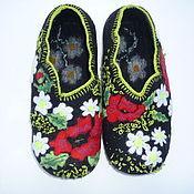 Обувь ручной работы. Ярмарка Мастеров - ручная работа Тапочки валяные Цветочные. Handmade.