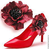 Украшения handmade. Livemaster - original item Leather flowers. Decoration brooches for shoes RED CAMELLIA. Handmade.