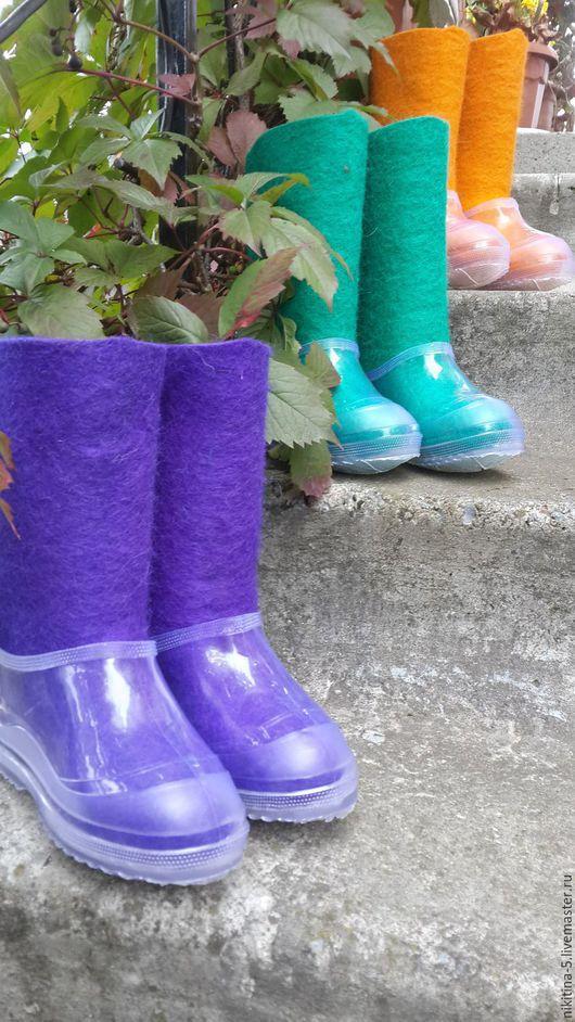 Обувь ручной работы. Ярмарка Мастеров - ручная работа. Купить Валенки детские цветные с галошами. Handmade. Комбинированный, валенки с галошами