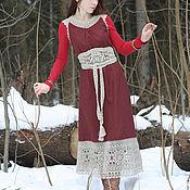 """Одежда handmade. Livemaster - original item Linen sundress with lace """"Winter cherry"""". Handmade."""