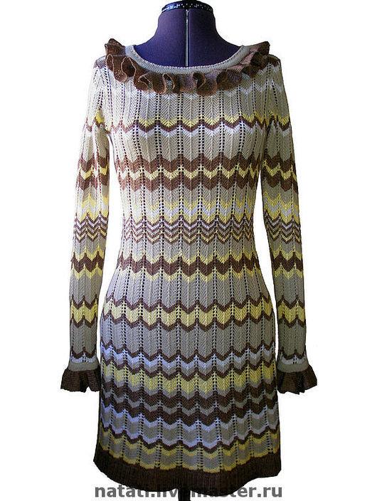 Платья ручной работы. Ярмарка Мастеров - ручная работа. Купить Платье с волнообразным рисунком бежево-коричневое. Handmade. Вязаное платье