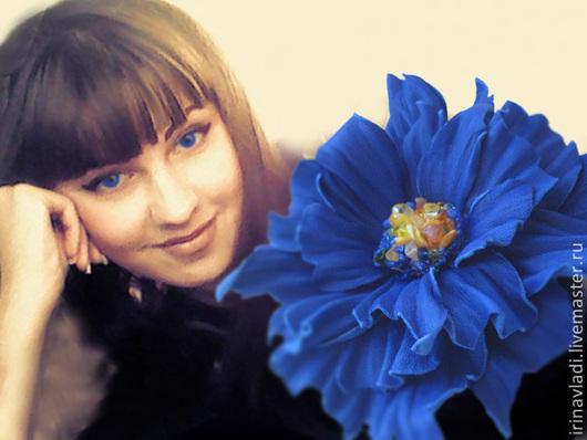 цветы из кожи, цветок из кожи, кожаный цветок  синий цветок из кожи, украшение для волос, украшение в прическу, заколка цветок, обруч с цветком, кожаный ободок для волос, ободок с цветком, цветы ручн