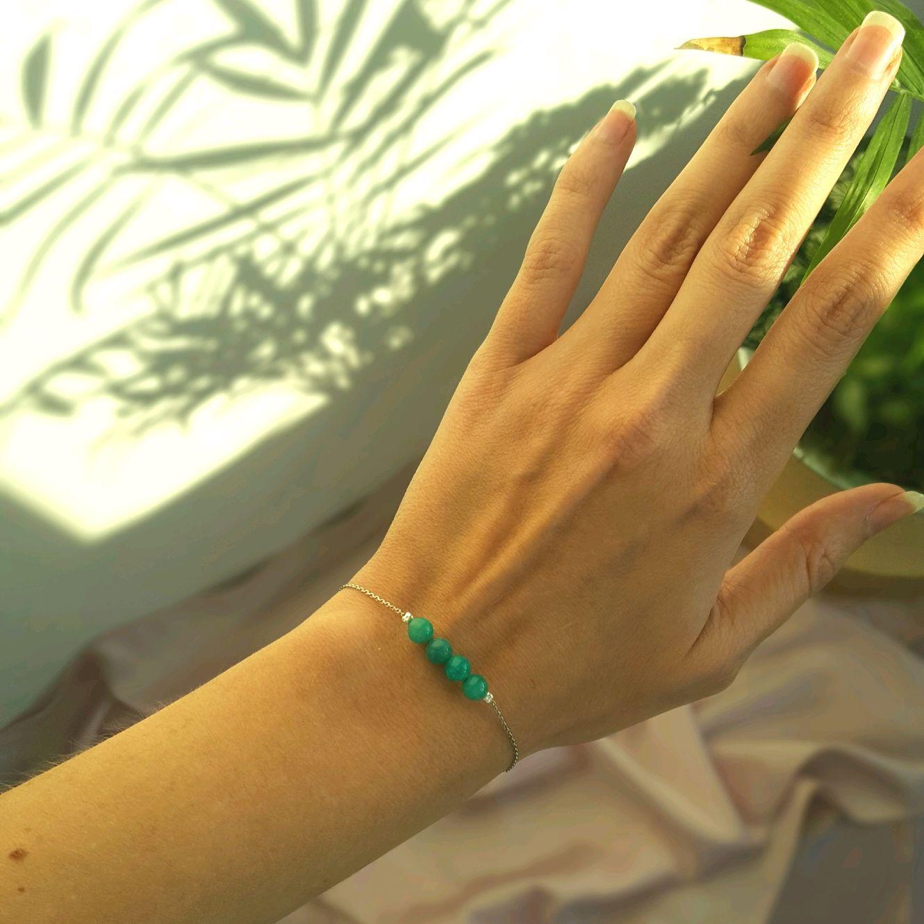 Серебряный браслет с природным Амазонитом, Браслет-цепочка, Калининград,  Фото №1