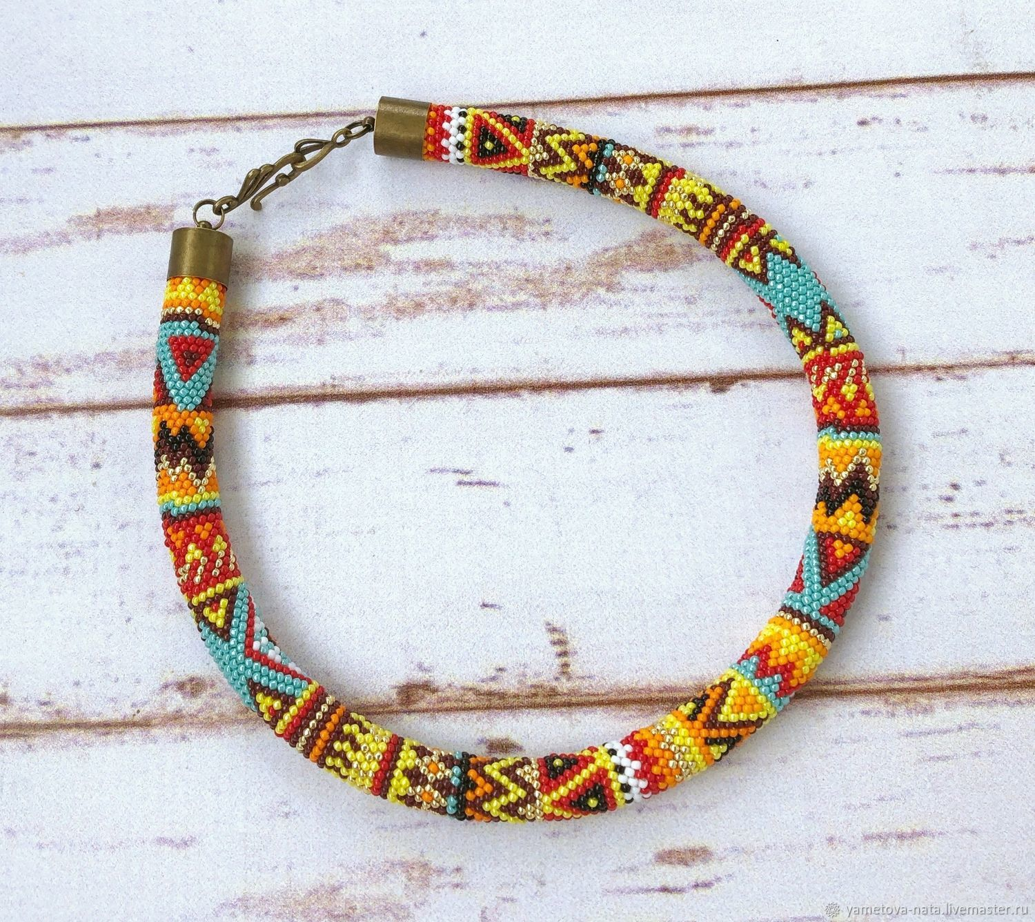 Ethno patchwork bead harness, Necklace, Abakan,  Фото №1
