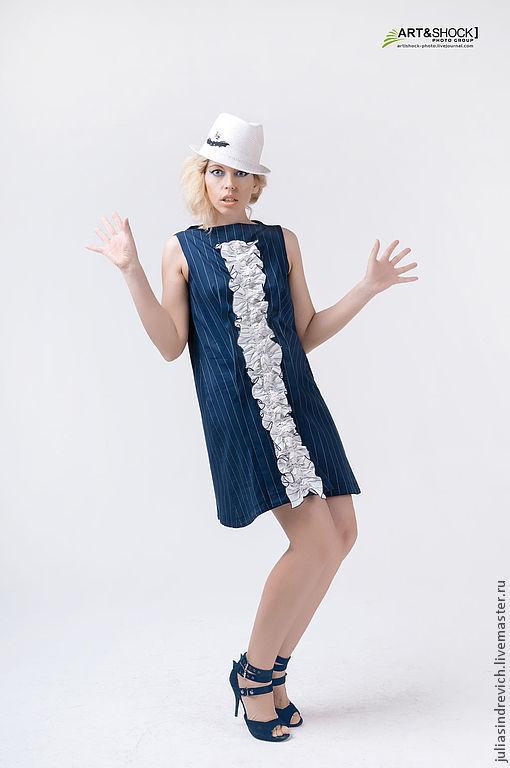 МГ_019 Платье белое синий крест, бело-синее жабо, синие «сбежавшие полоски», 60хлопок, 40вискоза