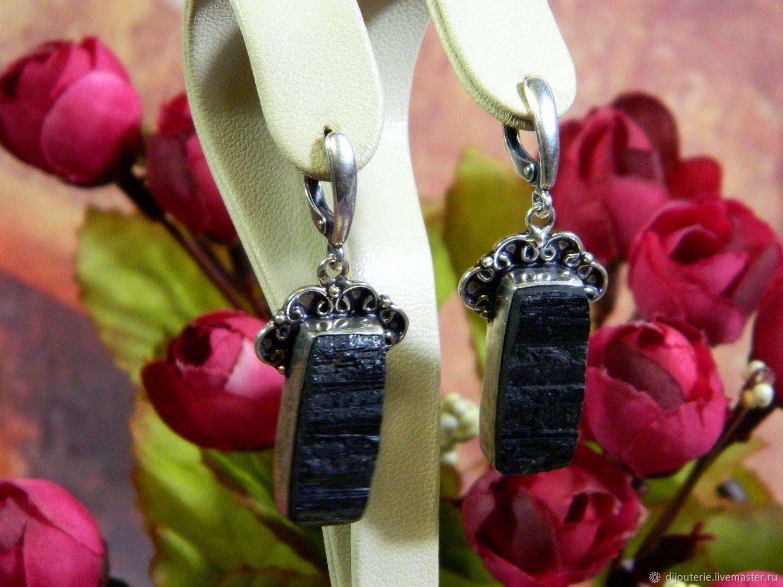 Earrings with Tourmaline Schorl. Black Tourmaline, Earrings, Saratov,  Фото №1