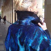 """Одежда ручной работы. Ярмарка Мастеров - ручная работа Пальто войлочное на шелке двустороннее тонкое"""" Все оттенки синего"""". Handmade."""