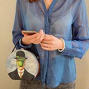 handmade. Livemaster - original item Round crossbody bag made of wood with the painting