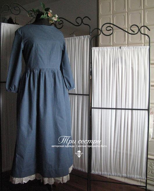 """Платья ручной работы. Ярмарка Мастеров - ручная работа. Купить Платье """"Три сестры"""" сине-зеленая клеточка. Handmade."""