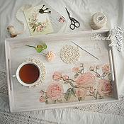 Для дома и интерьера ручной работы. Ярмарка Мастеров - ручная работа Поднос деревянный Нежность кремовых роз. Handmade.
