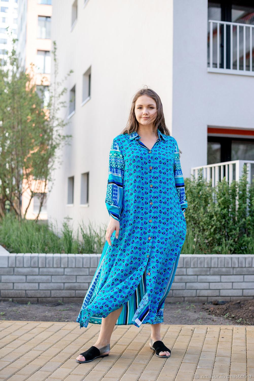 Floor-length shirt dress in bright blue, Dresses, Novosibirsk,  Фото №1