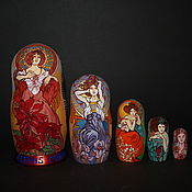Русский стиль handmade. Livemaster - original item Matryoshka Alphonse Mucha. Handmade.