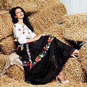 "Одежда ручной работы. Ярмарка Мастеров - ручная работа Вышитая чёрная юбка ""Яркий дуэт"" ручная вышивка. Handmade."