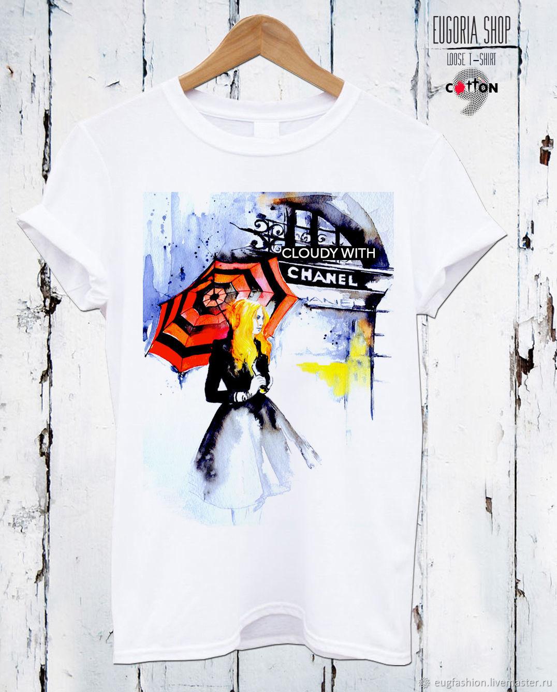 White cotton t-shirt with print - TEE10222CT, T-shirts, Sofia,  Фото №1