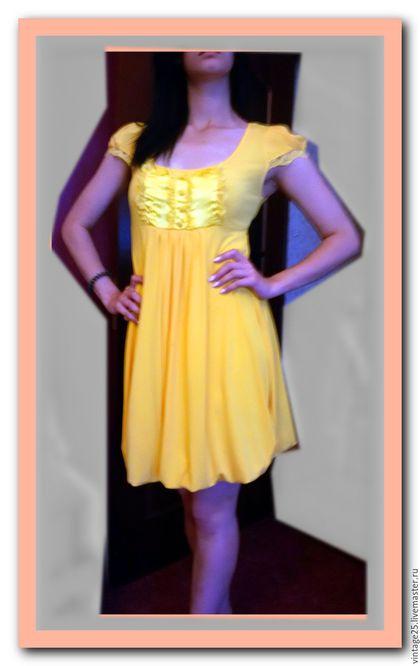 Одежда. Ярмарка Мастеров - ручная работа. Купить Солнечное винтажное платье баллон новое. Handmade. Желтый, винтажное платье