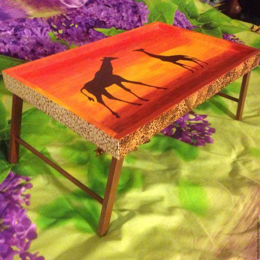 Мебель ручной работы. Ярмарка Мастеров - ручная работа. Купить столик-поднос для завтрака в африканском стиле. Handmade. Рыжий, поднос