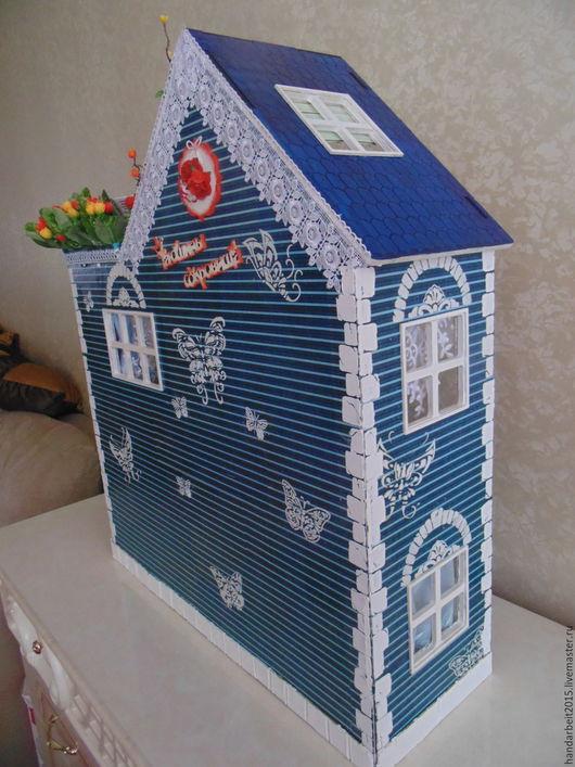 Кукольный дом ручной работы. Ярмарка Мастеров - ручная работа. Купить Большой кукольный домик. Handmade. Голубой, домик для кукол
