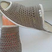 Обувь ручной работы. Ярмарка Мастеров - ручная работа Вязаная обувь. .....Шлёпанцы Какао....Топлёное Молоко. Handmade.