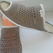 Обувь ручной работы handmade. Livemaster - original item Knitted shoes. ..... Slippers Cocoa.... baked milk. Handmade.