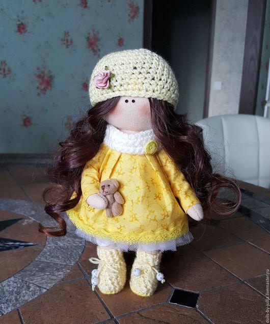 Куклы тыквоголовки ручной работы. Ярмарка Мастеров - ручная работа. Купить Текстильная, интерьерная кукла. Handmade. Желтый, текстильная кукла