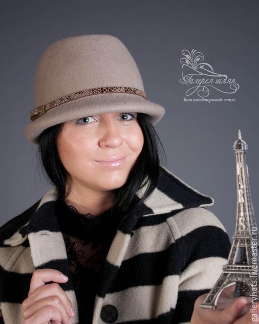 Шляпы ручной работы. Ярмарка Мастеров - ручная работа. Купить Шляпа  Амазонка  из фетра цвета капучино. Handmade. Бежевый