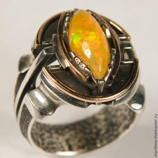 Украшения для мужчин, ручной работы. Ярмарка Мастеров - ручная работа. Купить Мужское кольцо с опалом «Эксквайр». Handmade. Опал, подарок