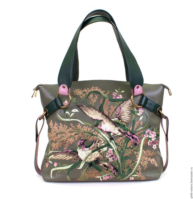 Medium leather bag 'Birds' embroidery, Classic Bag, St. Petersburg,  Фото №1