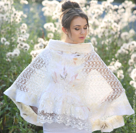 Одежда и аксессуары ручной работы. Ярмарка Мастеров - ручная работа. Купить Шаль-болеро белая свадебная  ЖЕМЧУЖИНА  в технике нунофелтин. Handmade.