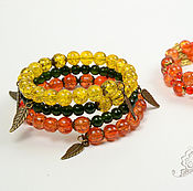 Bead bracelet handmade. Livemaster - original item Double bracelets falling leaves orange yellow green. Handmade.
