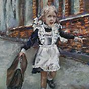 Картины ручной работы. Ярмарка Мастеров - ручная работа Картина пастелью Первоклассница (коричневый кирпичный девочка). Handmade.