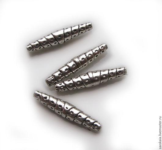 Бусины металлические Спираль, античное серебро