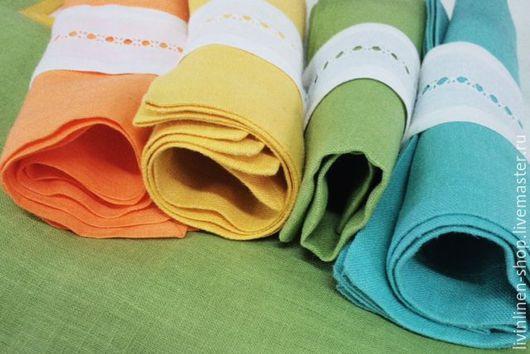 Кухня ручной работы. Ярмарка Мастеров - ручная работа. Купить Краски Индейского лета: льняные салфетки с кольцами. Handmade. Разноцветный