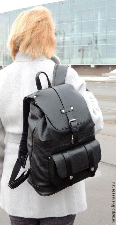 9ff8633eb64b Black leather backpack